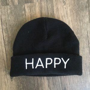 """Happy"" Black Beanie"